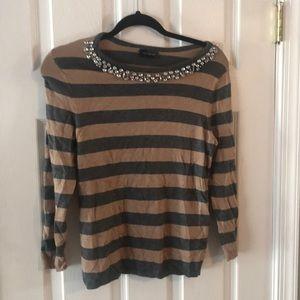 Limited Rhinestone Striped Sweater